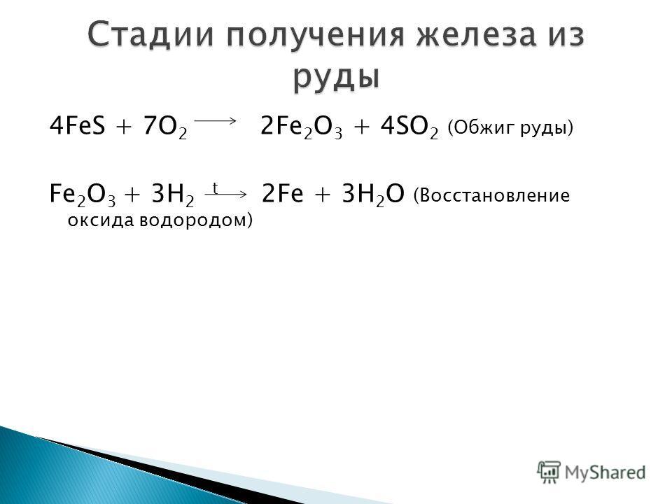 4FeS + 7O 2 2Fe 2 O 3 + 4SO 2 (Обжиг руды) Fe 2 O 3 + 3H 2 t 2Fe + 3H 2 O (Восстановление оксида водородом)