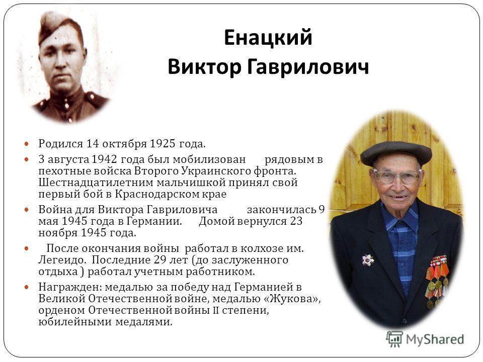 Енацкий Виктор Гаврилович Родился 14 октября 1925 года. 3 августа 1942 года был мобилизован рядовым в пехотные войска Второго Украинского фронта. Шестнадцатилетним мальчишкой принял свой первый бой в Краснодарском крае Война для Виктора Гавриловича з