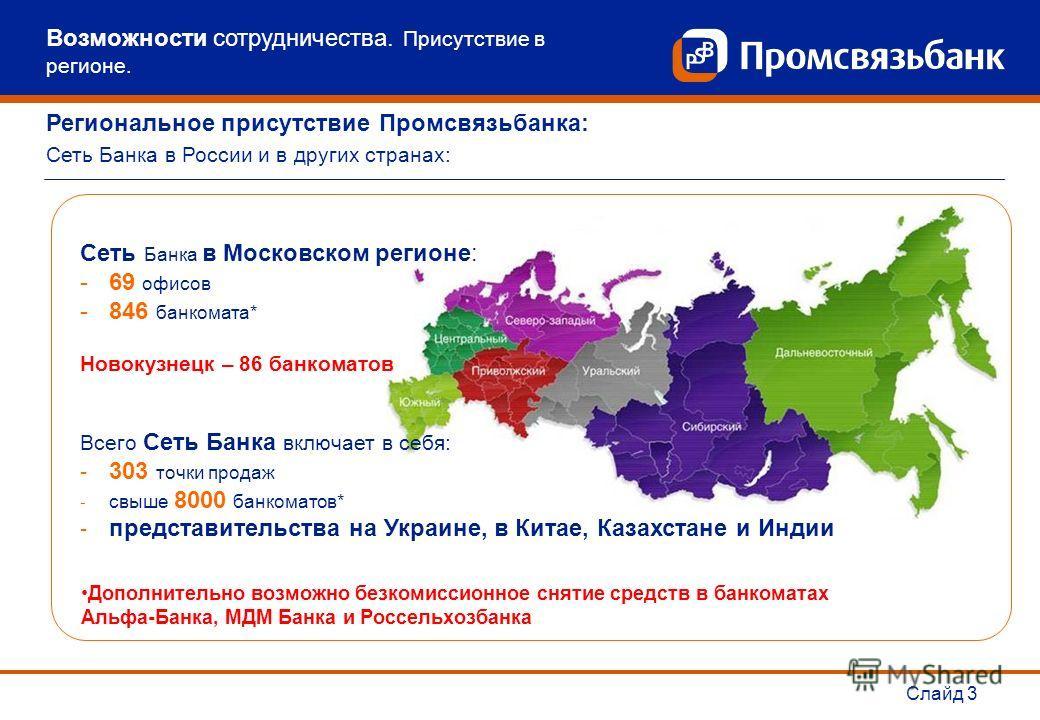 Слайд 3 Сеть Банка в Московском регионе: -69 офисов -846 банкомата* Новокузнецк – 86 банкоматов Всего Сеть Банка включает в себя: - 303 точки продаж - свыше 8000 банкоматов* - представительства на Украине, в Китае, Казахстане и Индии Дополнительно во