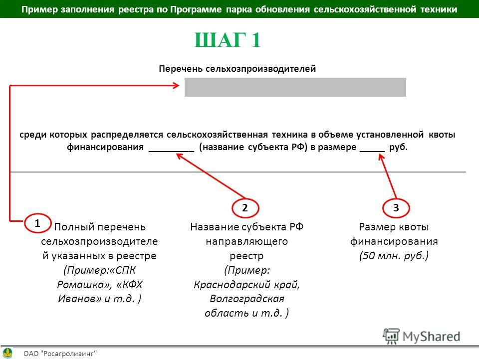 Пример заполнения реестра по Программе парка обновления сельскохозяйственной техники ОАО