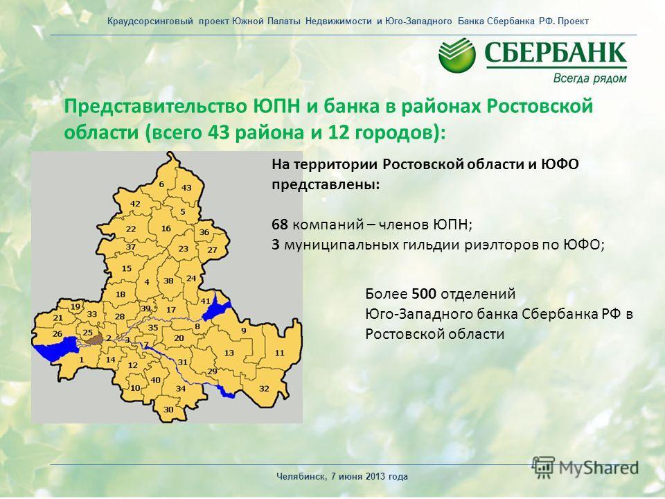 Представительство ЮПН и банка в районах Ростовской области (всего 43 района и 12 городов): Челябинск, 7 июня 2013 года На территории Ростовской области и ЮФО представлены: 68 компаний – членов ЮПН; 3 муниципальных гильдии риэлторов по ЮФО; Более 500