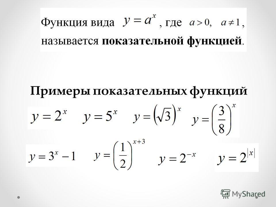Примеры показательных функций