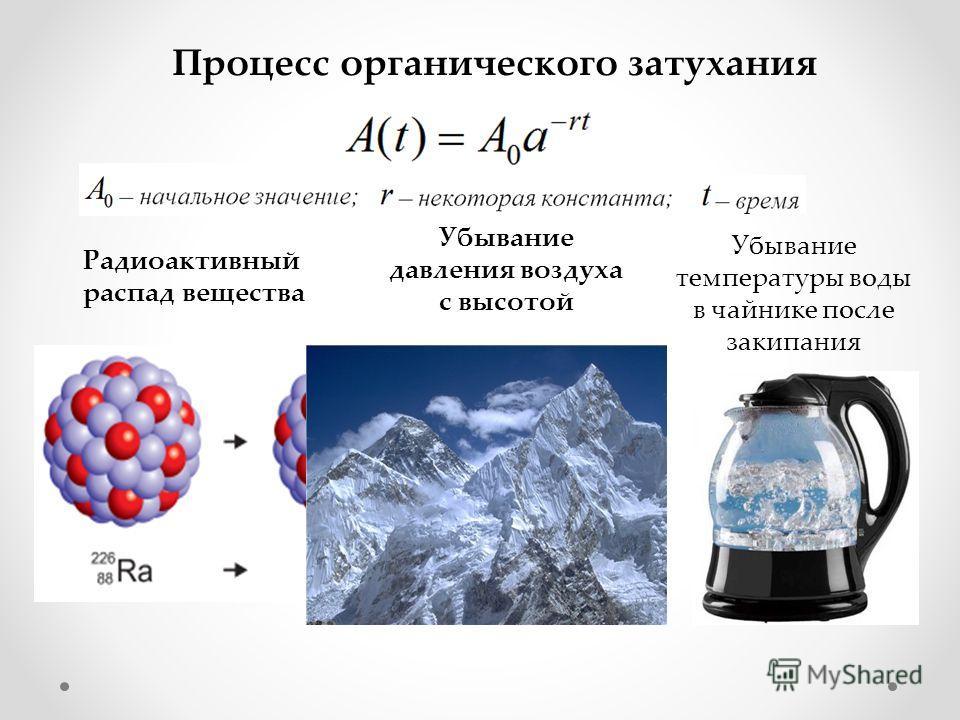 Процесс органического затухания Радиоактивный распад вещества Убывание давления воздуха с высотой Убывание температуры воды в чайнике после закипания