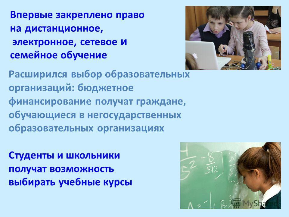Впервые закреплено право на дистанционное, электронное, сетевое и семейное обучение Расширился выбор образовательных организаций: бюджетное финансирование получат граждане, обучающиеся в негосударственных образовательных организациях Студенты и школь