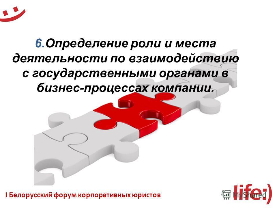 6. Определение роли и места деятельности по взаимодействию с государственными органами в бизнес-процессах компании. I Белорусский форум корпоративных юристов