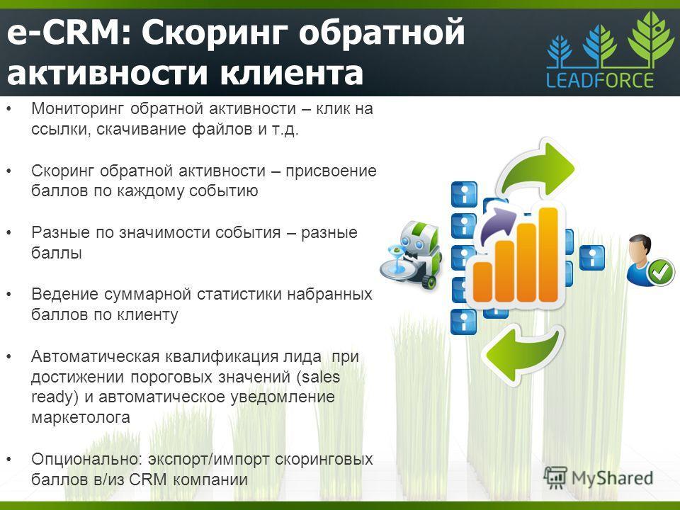 e-CRM: Скоринг обратной активности клиента Мониторинг обратной активности – клик на ссылки, скачивание файлов и т.д. Скоринг обратной активности – присвоение баллов по каждому событию Разные по значимости события – разные баллы Ведение суммарной стат