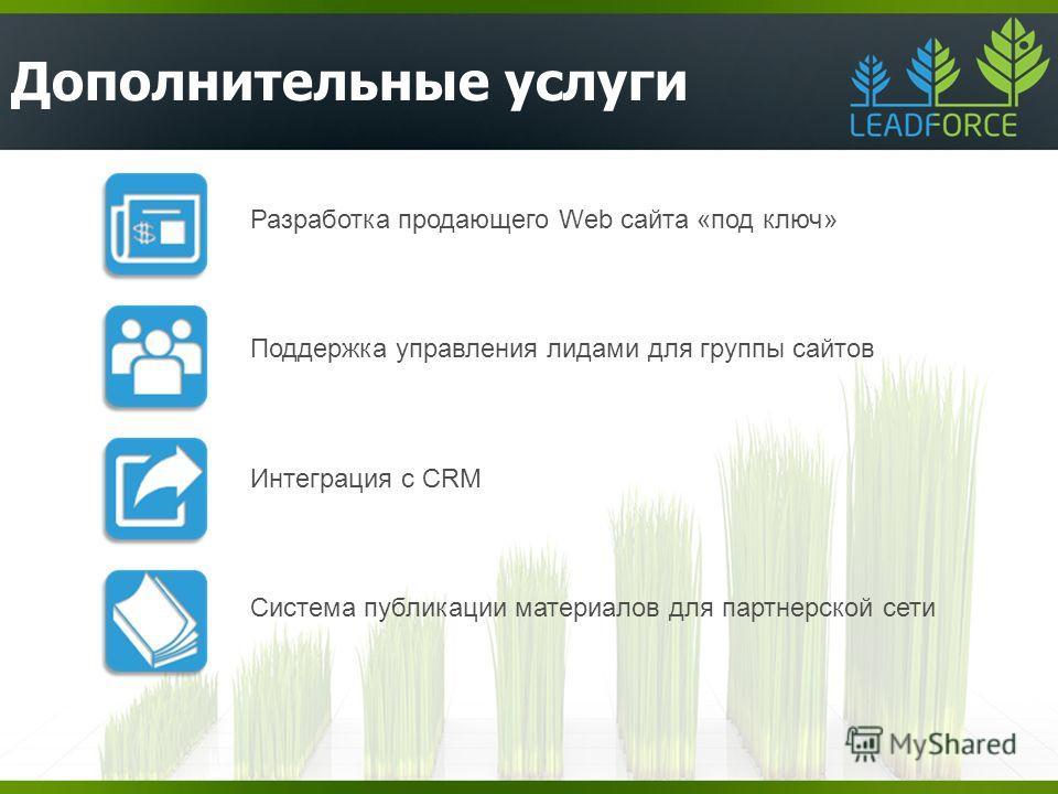 Дополнительные услуги Разработка продающего Web сайта «под ключ» Поддержка управления лидами для группы сайтов Интеграция с CRM Система публикации материалов для партнерской сети