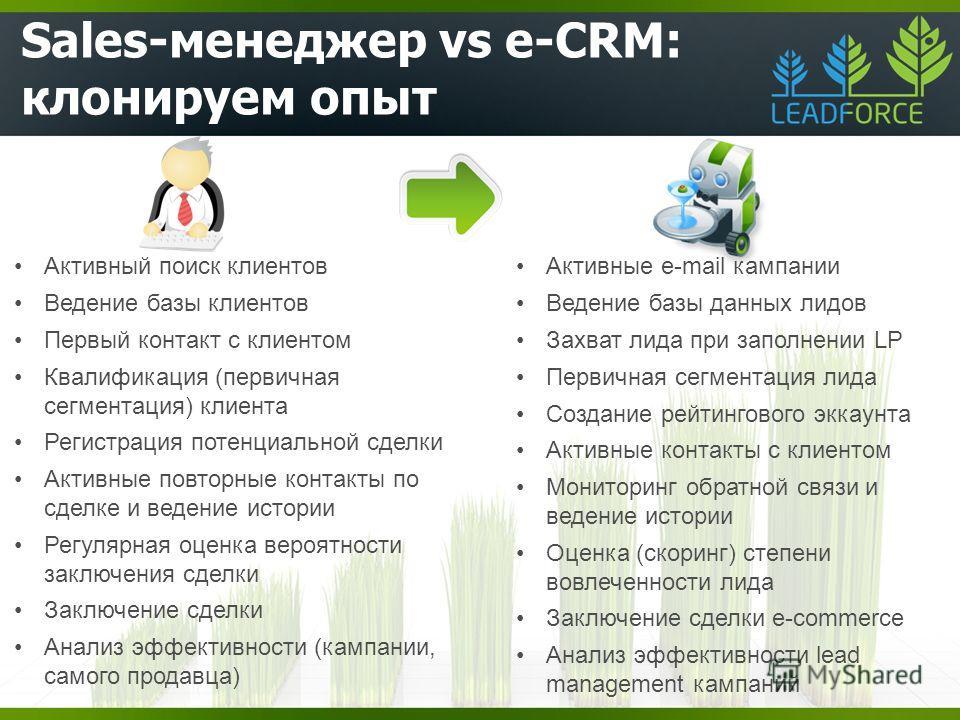 Sales-менеджер vs e-CRM: клонируем опыт Активные e-mail кампании Ведение базы данных лидов Захват лида при заполнении LP Первичная сегментация лида Создание рейтингового аккаунта Активные контакты с клиентом Мониторинг обратной связи и ведение истори