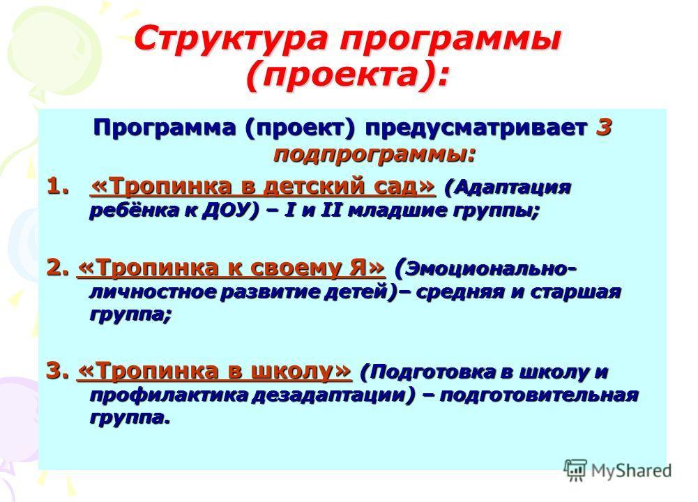 Структура программы (проекта): Программа (проект) предусматривает 3 подпрограммы: 1.«Тропинка в детский сад» (Адаптация ребёнка к ДОУ) – I и II младшие группы; 2. «Тропинка к своему Я» ( Эмоционально- личностное развитие детей)– средняя и старшая гру