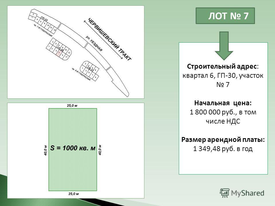 ЛОТ 7 Строительный адрес: квартал 6, ГП-30, участок 7 Начальная цена: 1 800 000 руб., в том числе НДС Размер арендной платы: 1 349,48 руб. в год