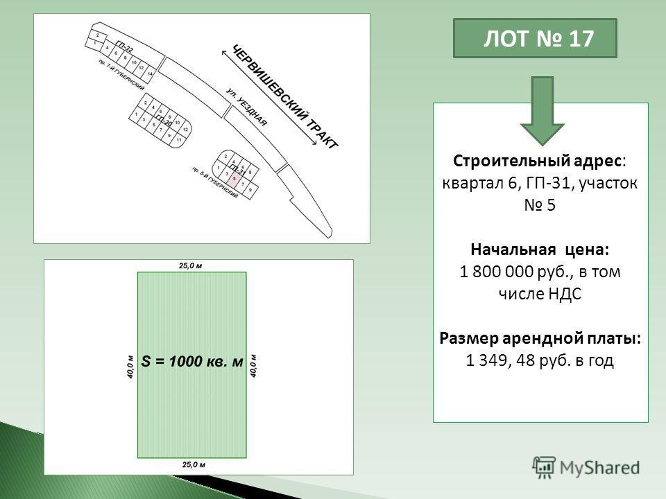 ЛОТ 17 Строительный адрес: квартал 6, ГП-31, участок 5 Начальная цена: 1 800 000 руб., в том числе НДС Размер арендной платы: 1 349, 48 руб. в год