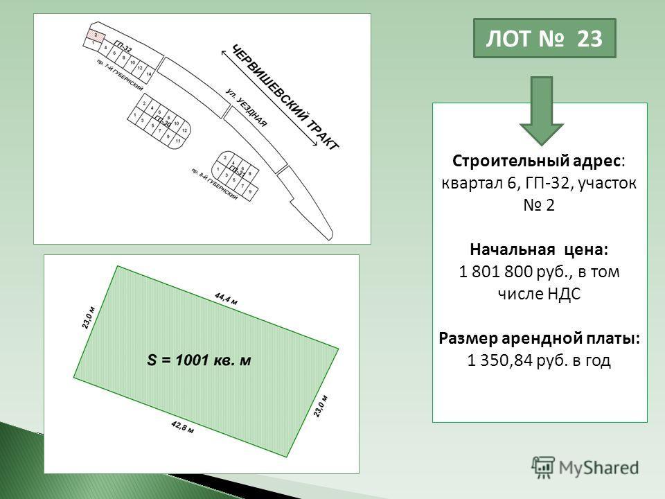 ЛОТ 23 Строительный адрес: квартал 6, ГП-32, участок 2 Начальная цена: 1 801 800 руб., в том числе НДС Размер арендной платы: 1 350,84 руб. в год