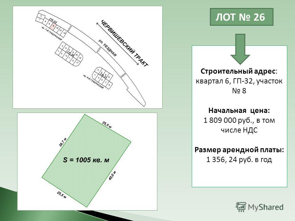 ЛОТ 26 Строительный адрес: квартал 6, ГП-32, участок 8 Начальная цена: 1 809 000 руб., в том числе НДС Размер арендной платы: 1 356, 24 руб. в год