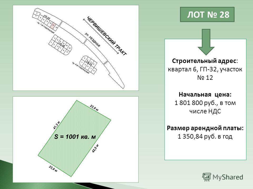 ЛОТ 28 Строительный адрес: квартал 6, ГП-32, участок 12 Начальная цена: 1 801 800 руб., в том числе НДС Размер арендной платы: 1 350,84 руб. в год