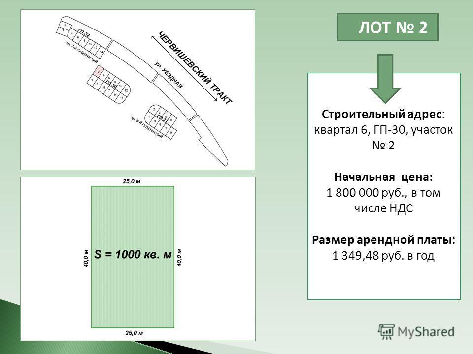 ЛОТ 2 Строительный адрес: квартал 6, ГП-30, участок 2 Начальная цена: 1 800 000 руб., в том числе НДС Размер арендной платы: 1 349,48 руб. в год