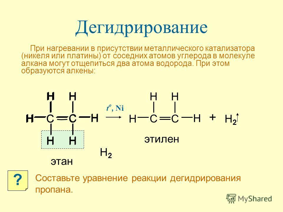 При нагревании в присутствии металлического катализатора (никеля или платины) от соседних атомов углерода в молекуле алкана могут отщепиться два атома водорода. При этом образуются алкены: Дегидрирование + H2H2 H C H H C H H H H C H C H H t o, Ni эта