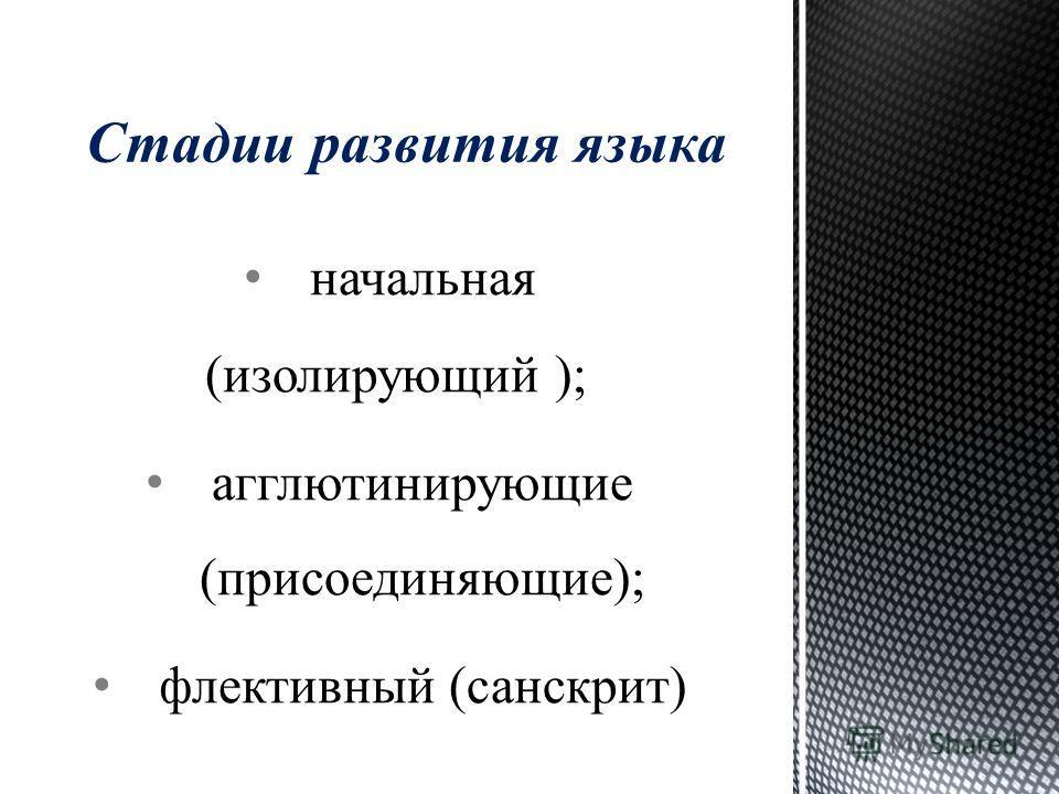 начальная (изолирующий ); агглютинирующие (присоединяющие); флективный (санскрит) Стадии развития языка