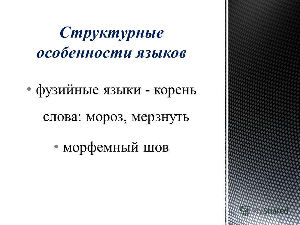 фузийные языки - корень слова: мороз, мерзнуть морфемный шов Структурные особенности языков