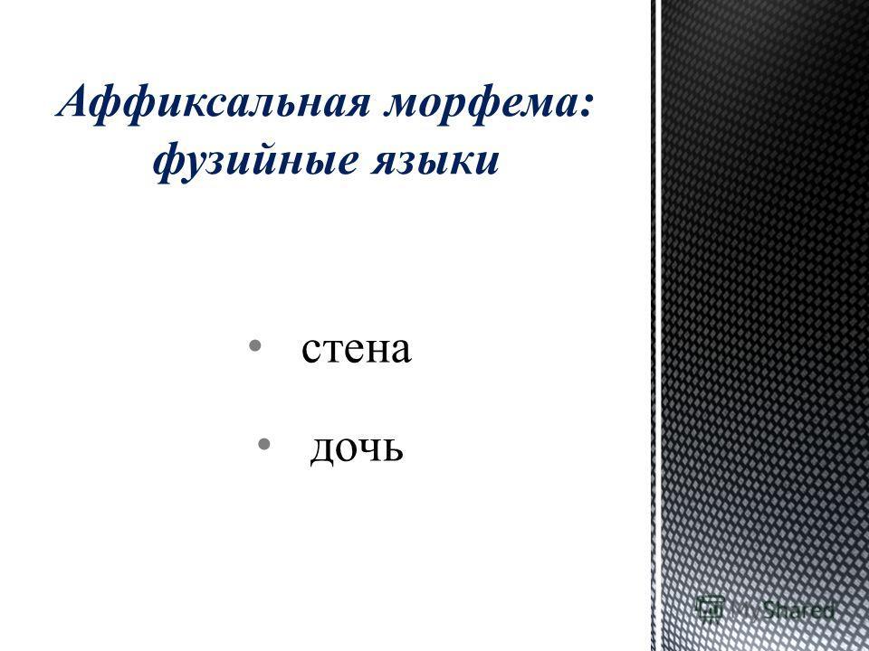 стена дочь Аффиксальная морфема: фузийные языки