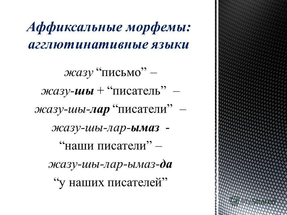 жазу письмо – жазу-ши + писатель – жазу-ши-лар писатели – жазу-ши-лар-ымаз - наши писатели – жазу-ши-лар-ымаз-да у наших писателей Аффиксальные морфемы: агглютинативные языки