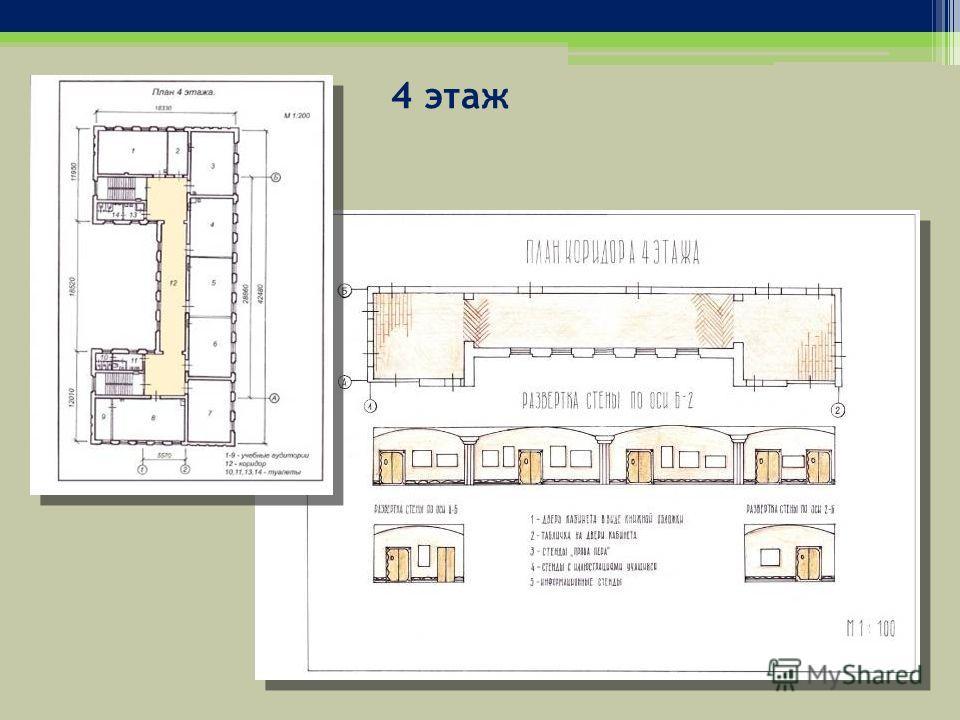 4 этаж На 4 этаже находятся кабинеты литературы и истории, а также библиотека. Поэтому дизайн интерьера этого этажа содержит элементы стиля «классицизм». Сочетание белого декора и светло-желтого цвета стен является характерным для данного стиля. Межд