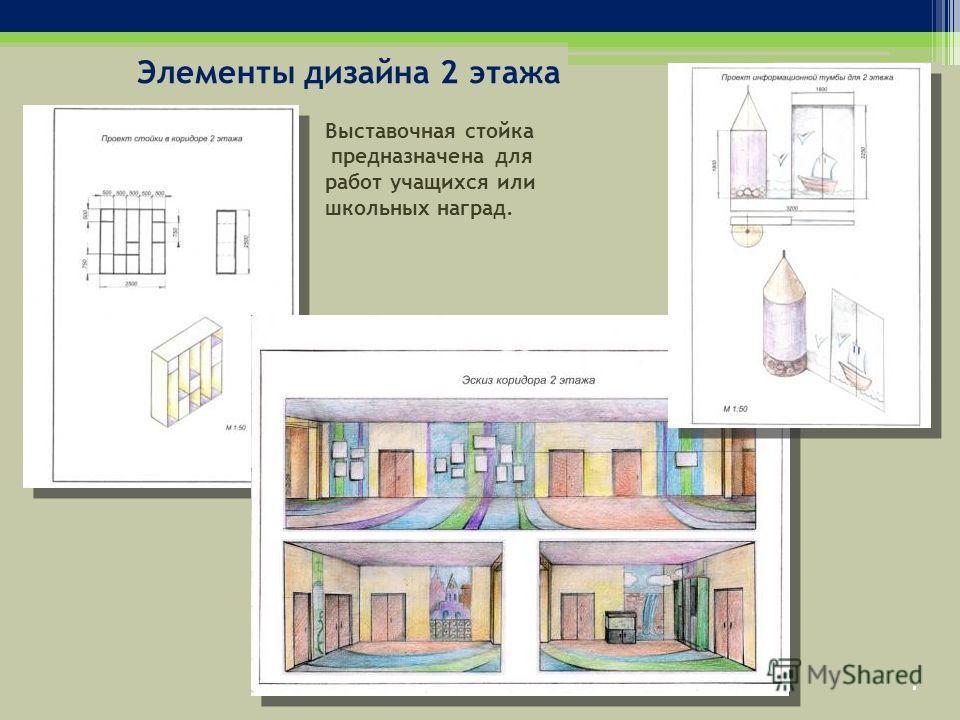 Элементы дизайна 2 этажа Выставочная стойка предназначена для работ учащихся или школьных наград.