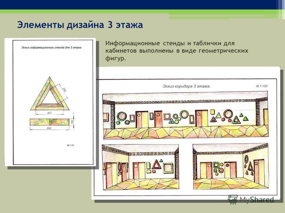 Элементы дизайна 3 этажа Информационные стенды и таблички для кабинетов выполнены в виде геометрических фигур.