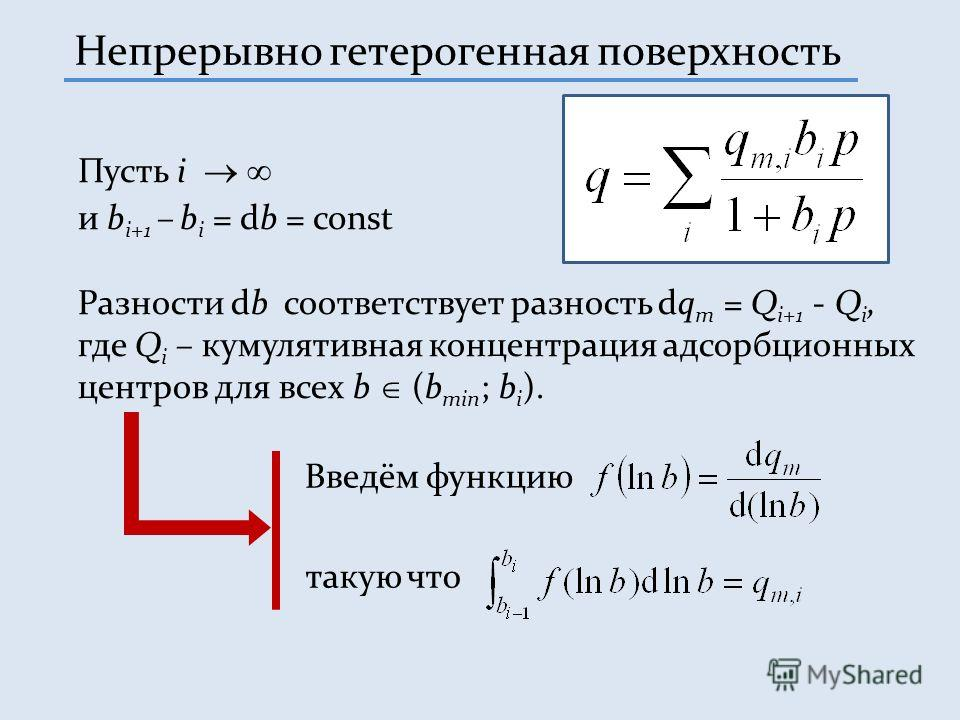 Непрерывно гетерогенная поверхность Пусть i и b i+1 – b i = db = const Разности db соответствует разность dq m = Q i+1 - Q i, где Q i – кумулятивная концентрация адсорбционных центров для всех b (b min ; b i ). Введём функцию такую что