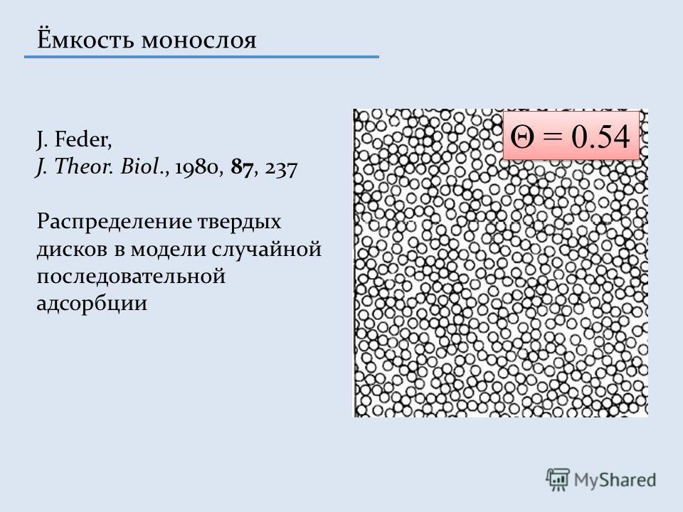 Ёмкость монослоя J. Feder, J. Theor. Biol., 1980, 87, 237 Распределение твердых дисков в модели случайной последовательной адсорбции = 0.54