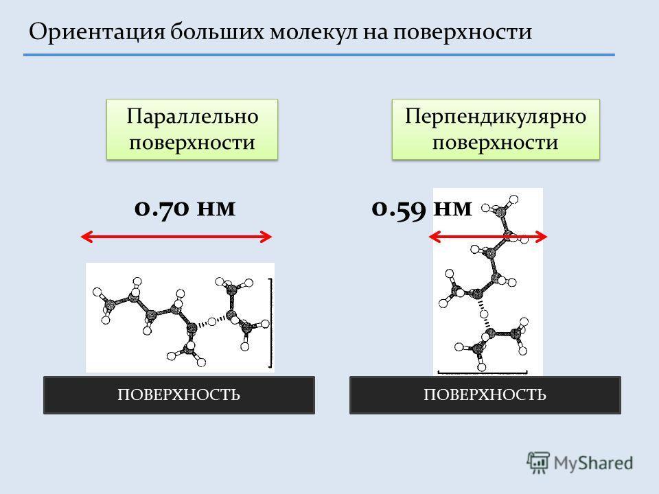 Ориентация больших молекул на поверхности Параллельно поверхности Перпендикулярно поверхности 0.70 нм ПОВЕРХНОСТЬ 0.59 нм
