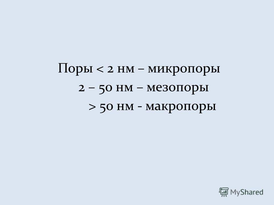 Поры < 2 нм – микропоры 2 – 50 нм – мезопоры > 50 нм - макропоры
