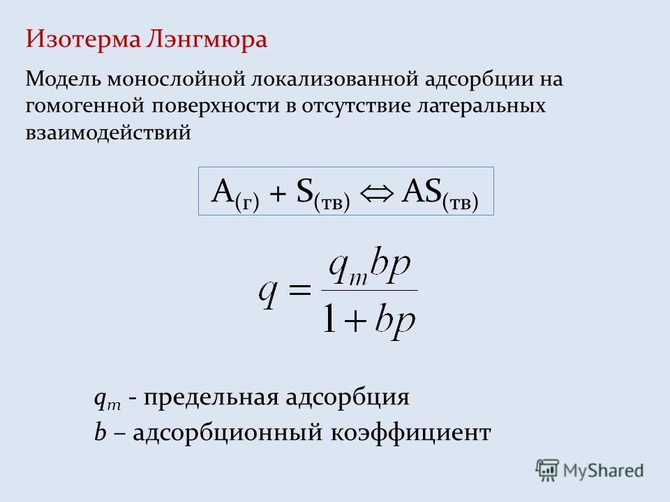 Изотерма Лэнгмюра Модель монослойной локализованной адсорбции на гомогенной поверхности в отсутствие латеральных взаимодействий q m - предельная адсорбция b – адсорбционный коэффициент A (г) + S (тв) AS (тв)