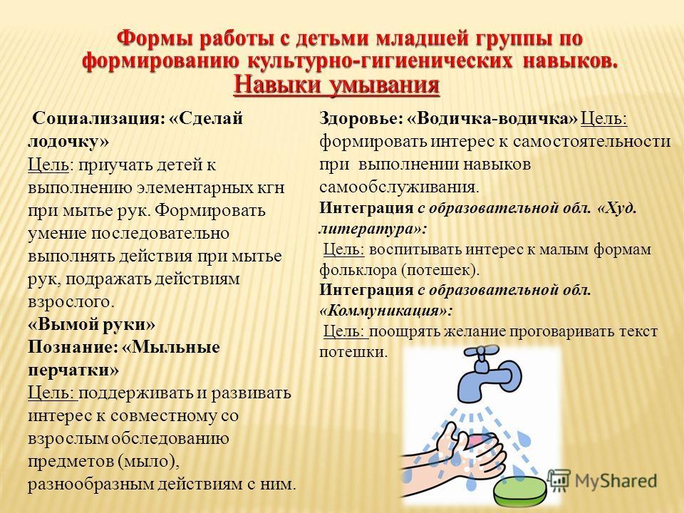 Социализация: «Сделай лодочку» Цель: приучать детей к выполнению элементарных кгн при мытье рук. Формировать умение последовательно выполнять действия при мытье рук, подражать действиям взрослого. «Вымой руки» Познание: «Мыльные перчатки» Цель: подде
