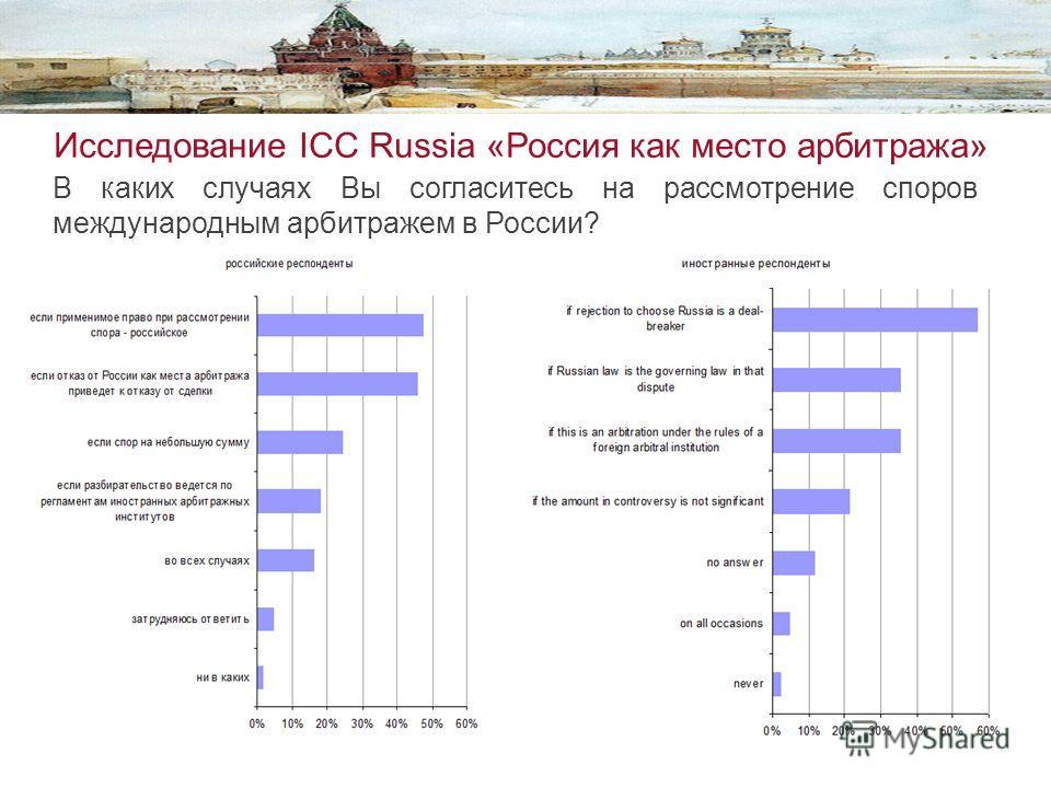 Исследование ICC Russia «Россия как место арбитража» В каких случаях Вы согласитесь на рассмотрение споров международнмы арбитражем в России?