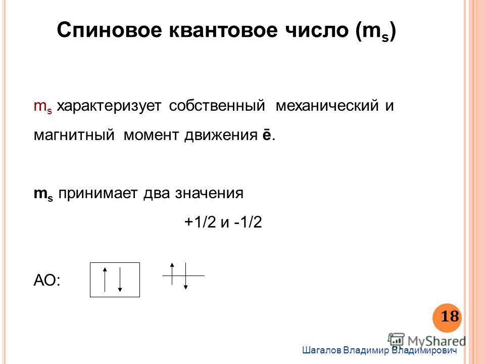 Шагалов Владимир Владимирович 18 Спиновое квантовое число (m s ) m s характеризует собственный механический и магнитный момент движения ē. m s принимает два значения +1/2 и -1/2 АО: