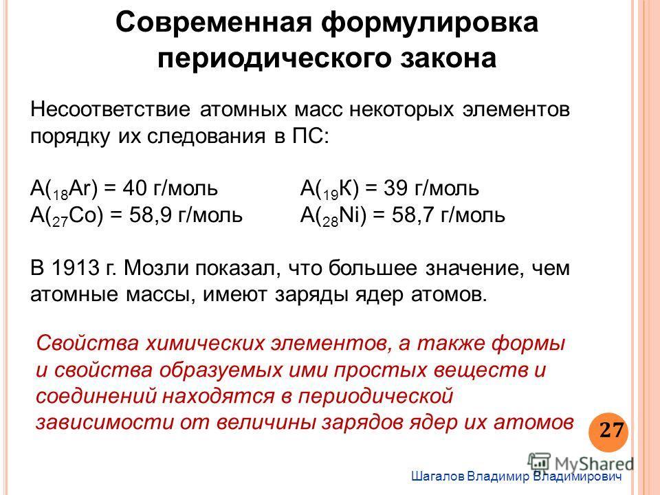 Шагалов Владимир Владимирович 27 Современная формулировка периодического закона Несоответствие атомных масс некоторых элементов порядку их следования в ПС: А( 18 Ar) = 40 г/моль А( 19 К) = 39 г/моль А( 27 Со) = 58,9 г/моль А( 28 Ni) = 58,7 г/моль В 1