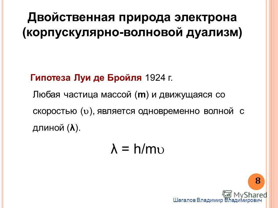Шагалов Владимир Владимирович 8 Двойственная природа электрона (корпускулярно-волновой дуализм) Гипотеза Луи де Бройля 1924 г. Любая частица массой (m) и движущаяся со скоростью ( ), является одновременно волной с длиной (λ). λ = h/m