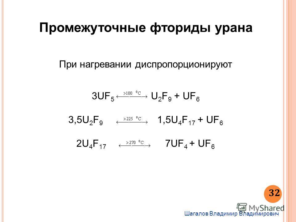 Шагалов Владимир Владимирович 32 Промежуточные фториды урана При нагревании диспропорционируют 3UF 5 U 2 F 9 + UF 6 3,5U 2 F 9 1,5U 4 F 17 + UF 6 2U 4 F 17 7UF 4 + UF 6