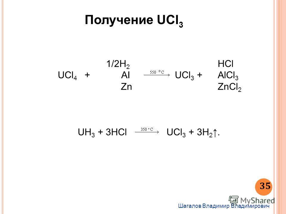 1/2Н 2 HCl UСl 4 + AI UCl 3 + AlCl 3 ZnZnCl 2 UH 3 + 3НСl UCl 3 + 3Н 2. Получение UCl 3 Шагалов Владимир Владимирович 35