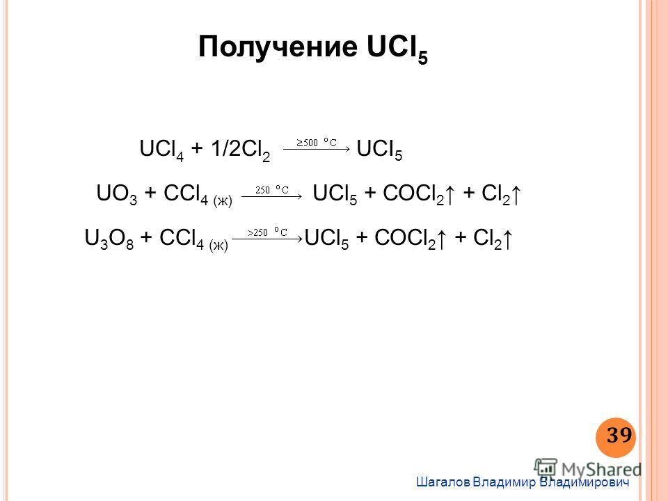 Получение UCl 5 Шагалов Владимир Владимирович 39 UCl 4 + 1/2Cl 2 UCI 5 UO 3 + ССl 4 (ж) UСl 5 + СОСl 2 + Сl 2 U 3 O 8 + ССl 4 (ж) UСl 5 + СОСl 2 + Сl 2