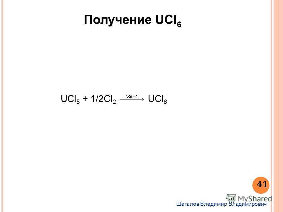 UСl 5 + 1/2Cl 2 UСl 6 Получение UCl 6 Шагалов Владимир Владимирович 41