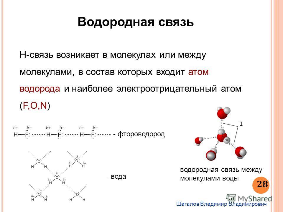 Шагалов Владимир Владимирович 28 Водородная связь Н-связь возникает в молекулах или между молекулами, в состав которых входит атом водорода и наиболее электроотрицательный атом (F,O,N) - фтороводород - вода водородная связь между молекулами воды