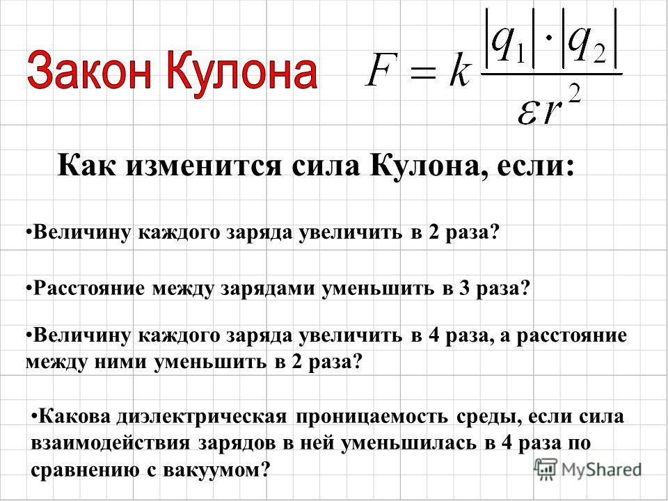 Величину каждого заряда увеличить в 2 раза? Как изменится сила Кулона, если: Расстояние между зарядами уменьшить в 3 раза? Величину каждого заряда увеличить в 4 раза, а расстояние между ними уменьшить в 2 раза? Какова диэлектрическая проницаемость ср