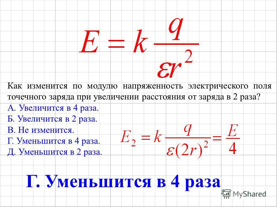 Как изменится по модулю напряженность электрического поля точечного заряда при увеличении расстояния от заряда в 2 раза? А. Увеличится в 4 раза. Б. Увеличится в 2 раза. В. Не изменится. Г. Уменьшится в 4 раза. Д. Уменьшится в 2 раза. Г. Уменьшится в