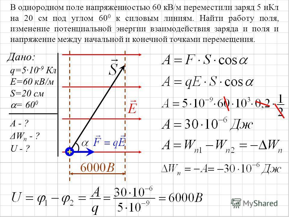 В однородном поле напряженностью 60 кВ/м переместили заряд 5 н Кл на 20 см под углом 60 0 к силовым линиям. Найти работу поля, изменение потенциальной энергии взаимодействия заряда и поля и напряжение между начальной и конечной точками перемещения. Д