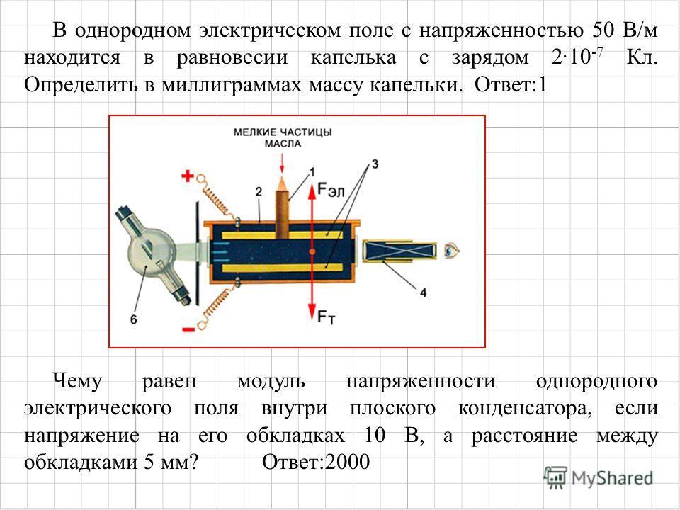 Чему равен модуль напряженности однородного электрического поля внутри плоского конденсатора, если напряжение на его обкладках 10 В, а расстояние между обкладками 5 мм? Ответ:2000 В однородном электрическом поле с напряженностью 50 В/м находится в ра