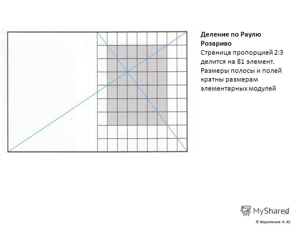 © Харитонов А. Ю. 18 Деление по Раулю Розариво Страница пропорцией 2:3 делится на 81 элемент. Размеры полосы и полей кратны размерам элементарных модулей