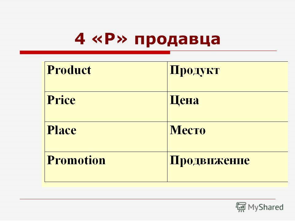 4 «Р» продавца