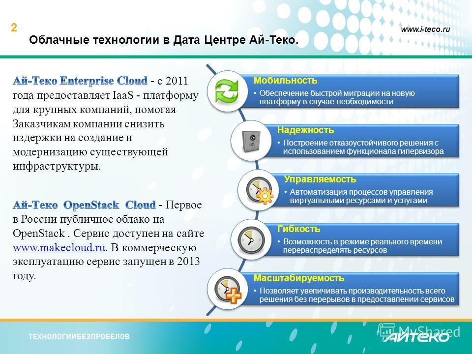 2 www.i-teco.ru Облачные технологии в Дата Центре Ай-Теко.