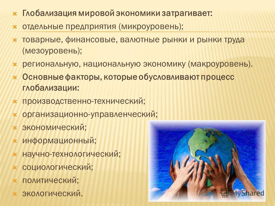 Глобализация мировой экономики затрагивает: отдельные предприятия (микроуровень); товарные, финансовые, валютные рынки и рынки труда (мезоуровень); региональную, национальную экономику (макроуровень). Основные факторы, которые обусловливают процесс г
